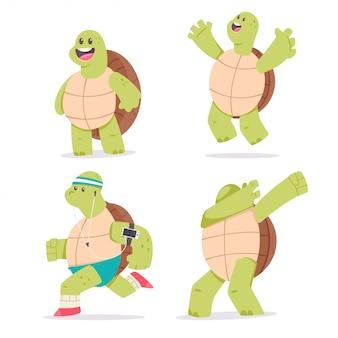 Set di caratteri del fumetto sveglio della tartaruga. illustrazione di animale mascotte divertente isolato su uno sfondo bianco.