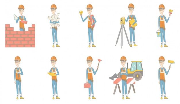 Set di caratteri del giovane costruttore caucasico