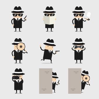 Set di caratteri del personaggio dei cartoni animati detective.