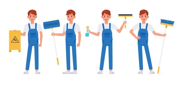 Set di caratteri del personale di pulizia