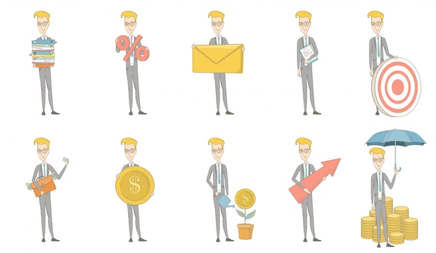 Set di caratteri dell'uomo d'affari caucasico