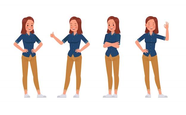 Set di caratteri della camicia delle blue jeans di usura di donna