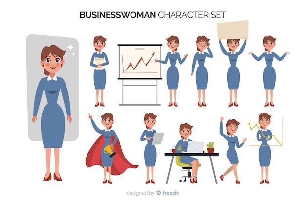 Set di caratteri della donna di affari