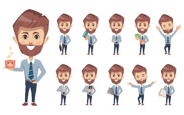 Set di caratteri di creazione finanziaria uomo d'affari.