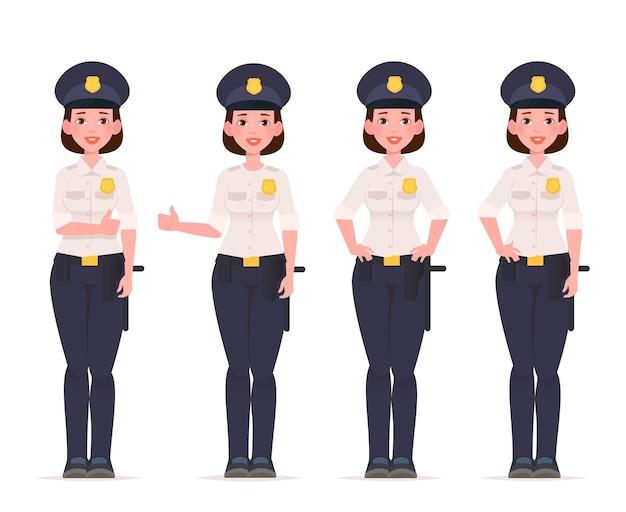 Set di caratteri di donna poliziotto. poliziotto.