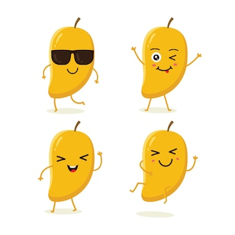 Set di caratteri di frutta mango in diverse emozioni d'azione