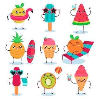Set di caratteri di gelati estivi