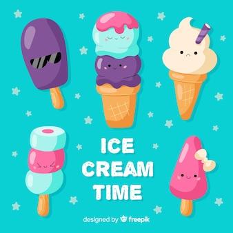 Set di caratteri di gelato kawaii disegnati a mano