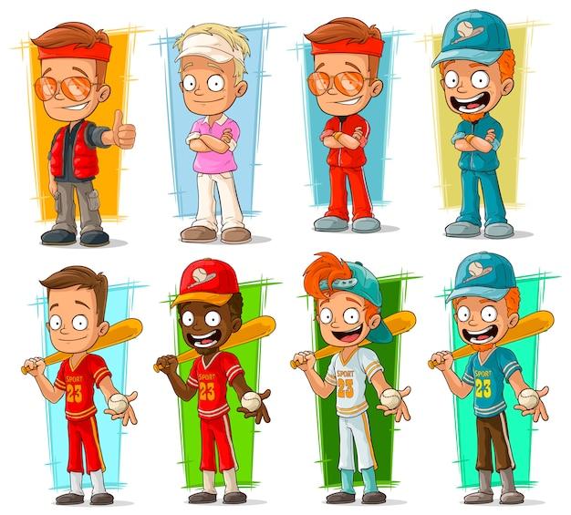 Set di caratteri di giocatori sportivi dei cartoni animati