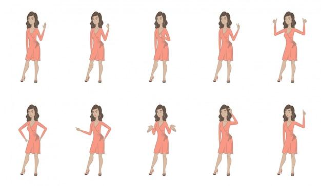 Set di caratteri di giovane donna ispanica