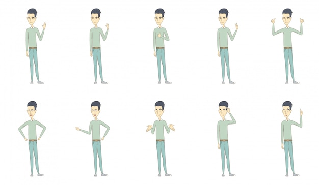 Set di caratteri di giovane uomo asiatico