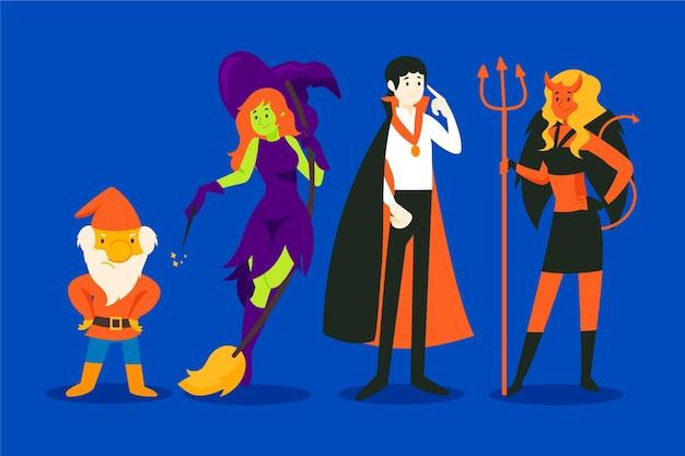 Set di caratteri di halloween disegnati