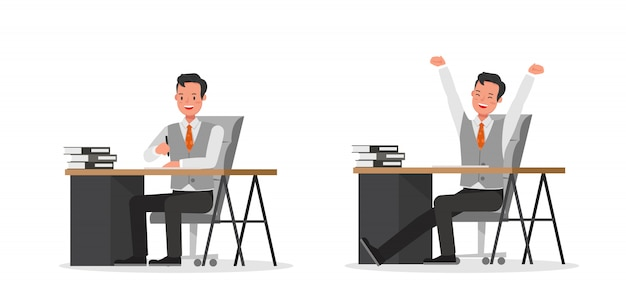 Set di caratteri di lavoro dell'uomo d'affari