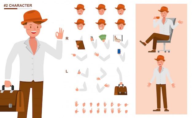 Set di caratteri di lavoro persone d'affari. crea la tua posa