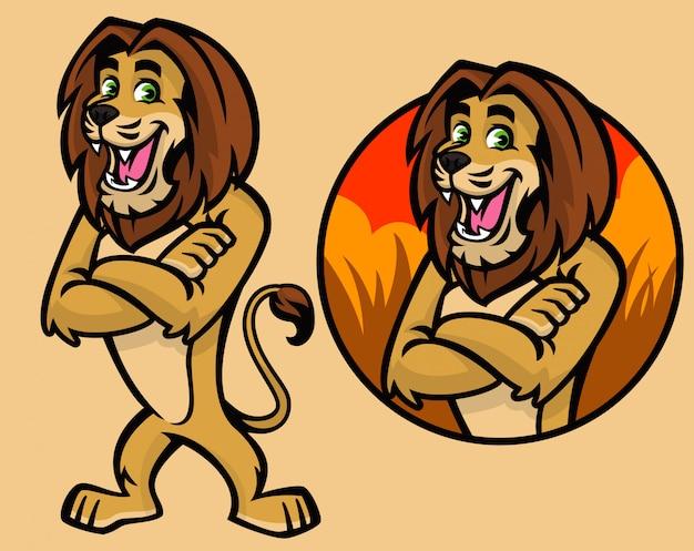 Set di caratteri di leone dei cartoni animati