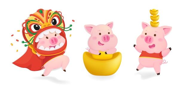 Set di caratteri di maiali. maiali per il capodanno cinese.