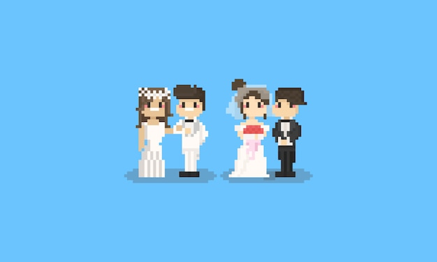 Set di caratteri di nozze carino pixel. 8bit