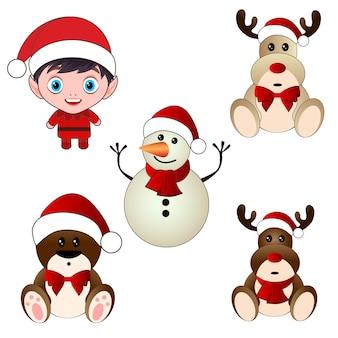 Set di caratteri di orso renna pupazzo di neve di natale bambino