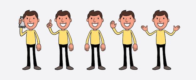 Set di caratteri di persone casual uomo.
