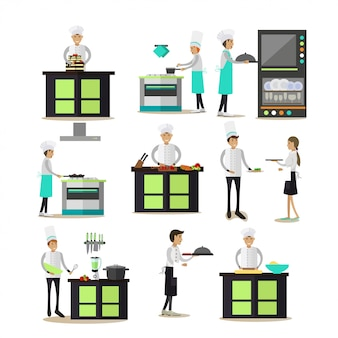 Set di caratteri di persone di cucina professionale in stile piatto