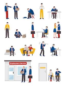 Set di caratteri di persone disoccupate