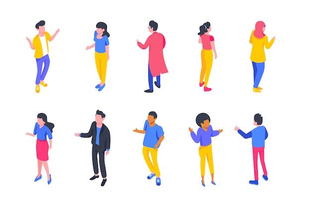 Set di caratteri di persone isometriche