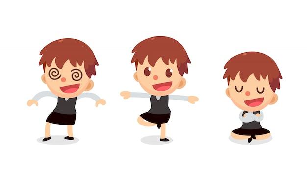 Set di caratteri di piccola imprenditrice in azioni