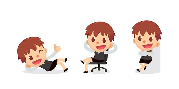 Set di caratteri di piccola imprenditrice in azioni.