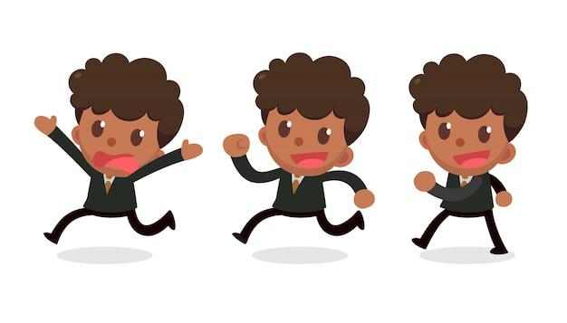 Set di caratteri di piccolo uomo d'affari in azioni