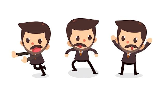 Set di caratteri di piccolo uomo d'affari in azioni.