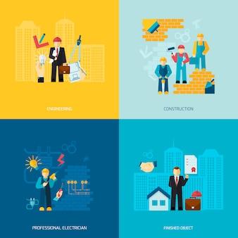 Set di caratteri di professioni di costruzione