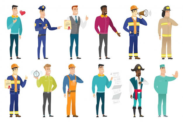 Set di caratteri di professioni.