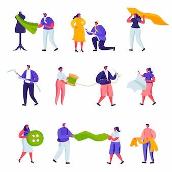 Set di caratteri di sartoria professionale e creativo atelier dei lavoratori