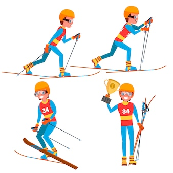 Set di caratteri di sci giovane giocatore