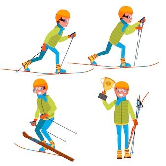 Set di caratteri di sci giovane