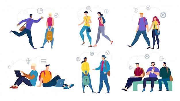 Set di caratteri di studenti adolescenti