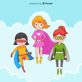 Set di caratteri di supereroi femminili in stile cartoon
