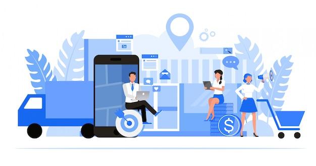 Set di caratteri di uomini d'affari. ottimizzazione delle imprese locali e concetto di marketing.