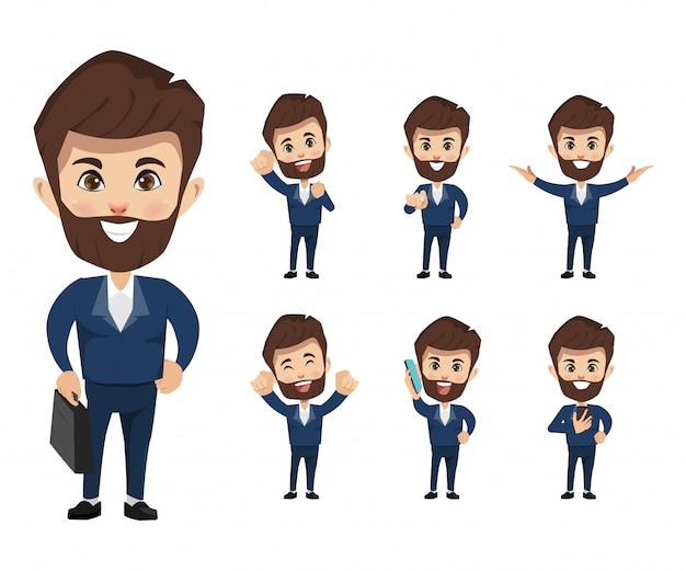 Set di caratteri di uomo d'affari in abito uniforme.