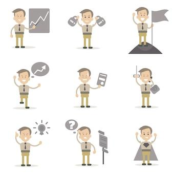 Set di caratteri di uomo d'affari