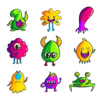 Set di caratteri disegnati a mano di colore mostri svegli