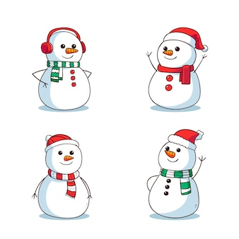 Set di caratteri disegnati a mano pupazzo di neve