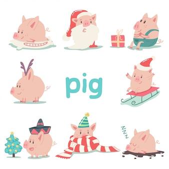 Set di caratteri divertenti del fumetto del maiale di natale isolato simbolo animale del 2019 capodanno cinese.