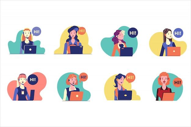 Set di caratteri donna servizio clienti