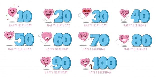 Set di caratteri e numeri di palloncini rosa