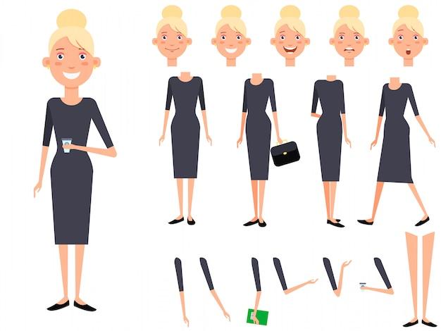 Set di caratteri elegante signora con diverse pose, emozioni