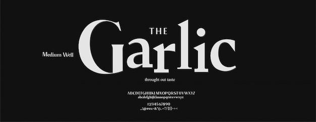 Set di caratteri eleganti lettere dell'alfabeto. caratteri tipografici stile classico, maiuscolo, minuscolo e numero regolari.