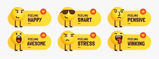 Set di caratteri emoji sensazione mista in piedi con etichetta di testo
