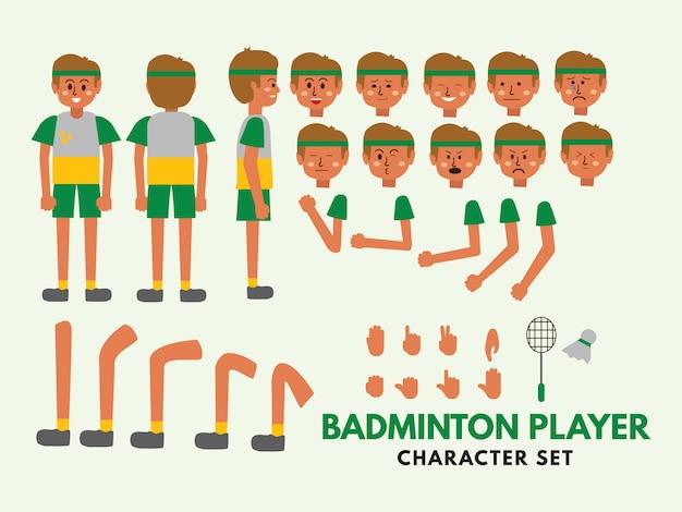 Set di caratteri giocatore di badminton