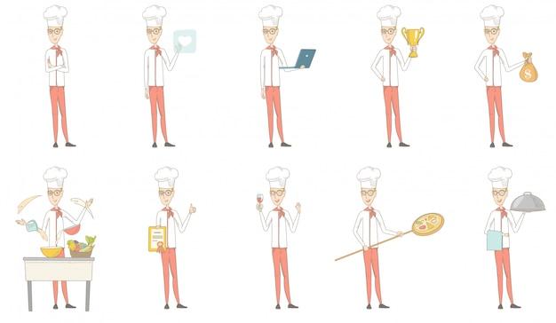 Set di caratteri giovane chef caucasico